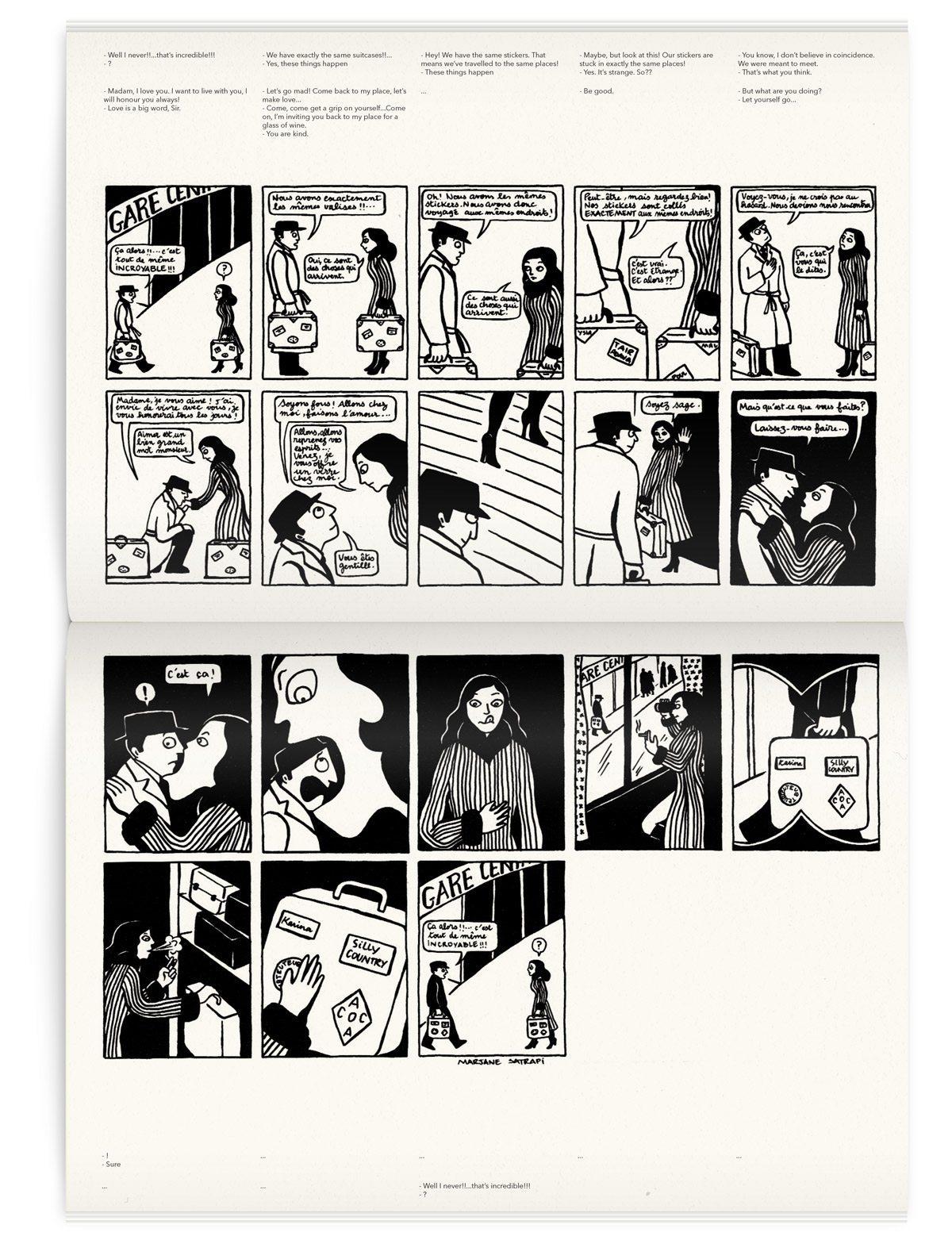 Une courte bande dessinée de Marjan Satrapi dans le magazine Iconofly, revue d'art autour d'un accessoire le sac de voyage, design IchetKar