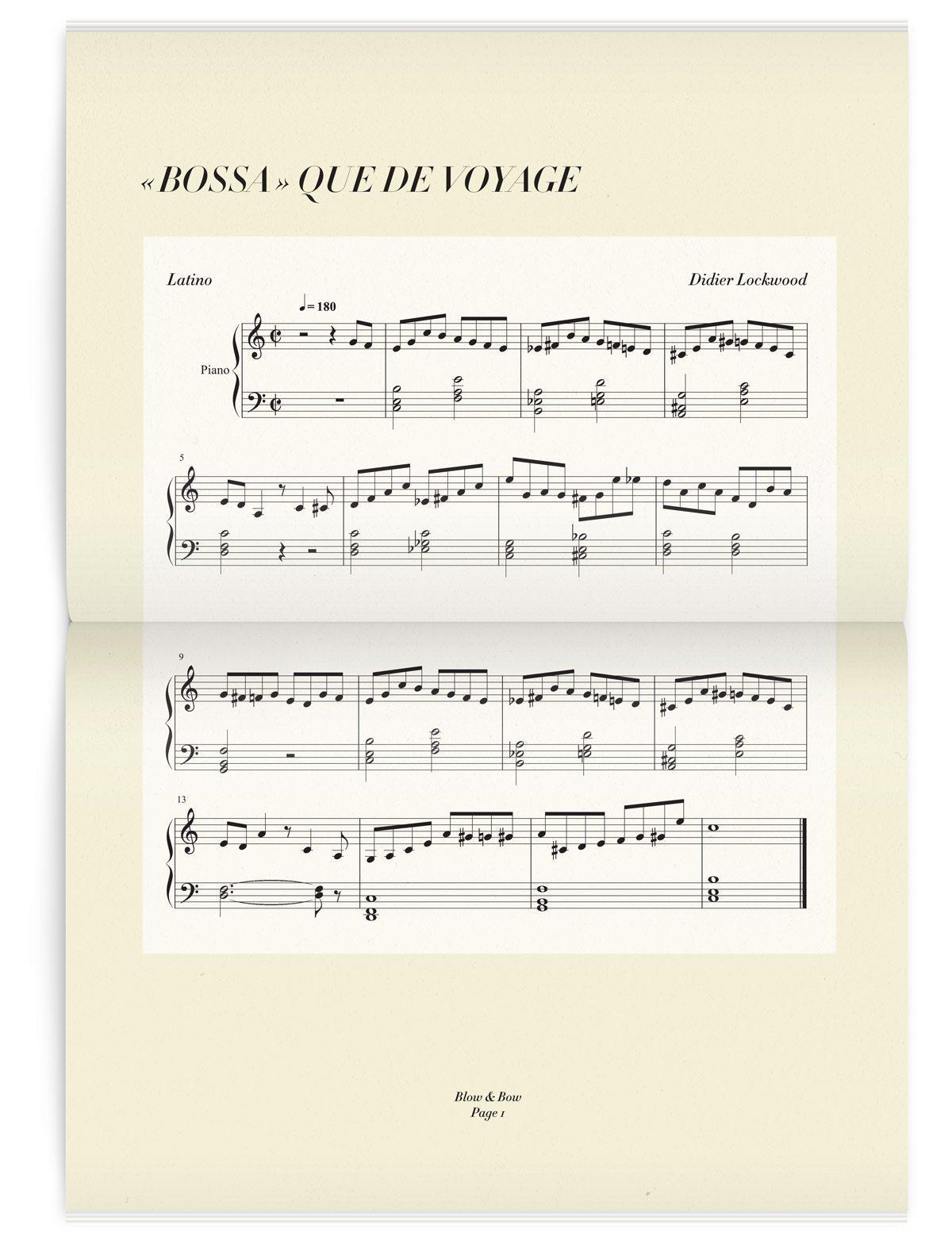Double page avec une partition de Bossa nova dans le magazine Iconofly, revue d'art autour d'un accessoire le sac de voyage, design IchetKar