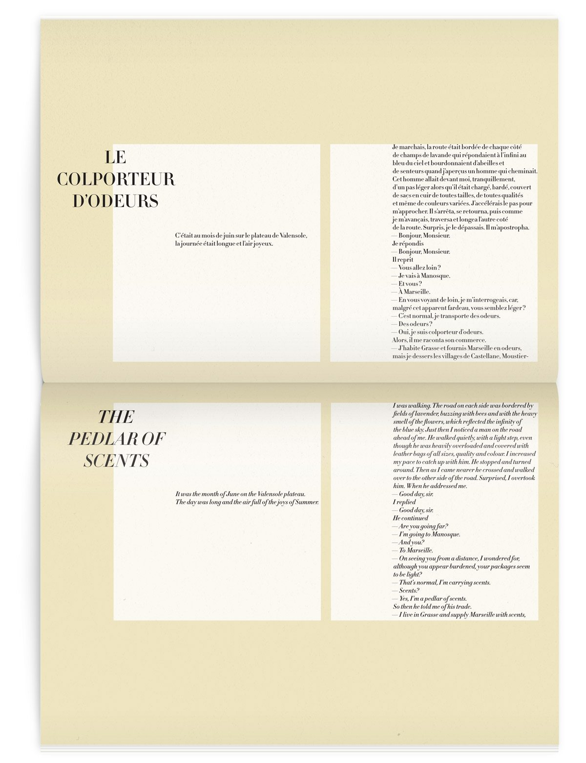 Double page, Le colporteur d'odeurs dans le magazine Iconofly, revue d'art autour d'un accessoire le sac de voyage, design IchetKar