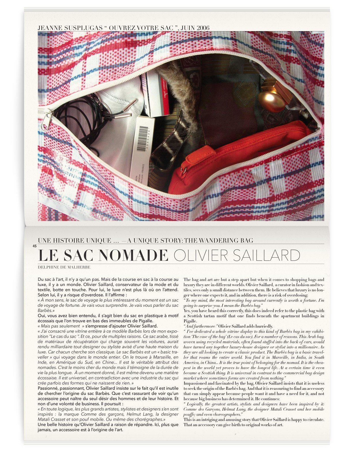 Article sur le sac nomade, dans le magazine Iconofly, revue d'art autour d'un accessoire le sac de voyage, design IchetKar
