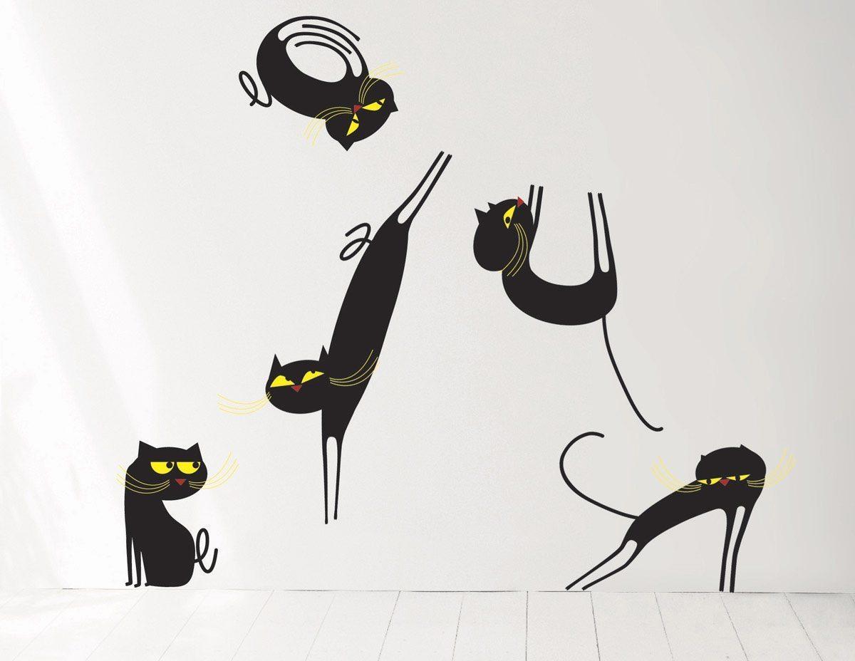 Wallsticker Catenkit, 5 chats à personnaliser sur vos murs, design IchetKar