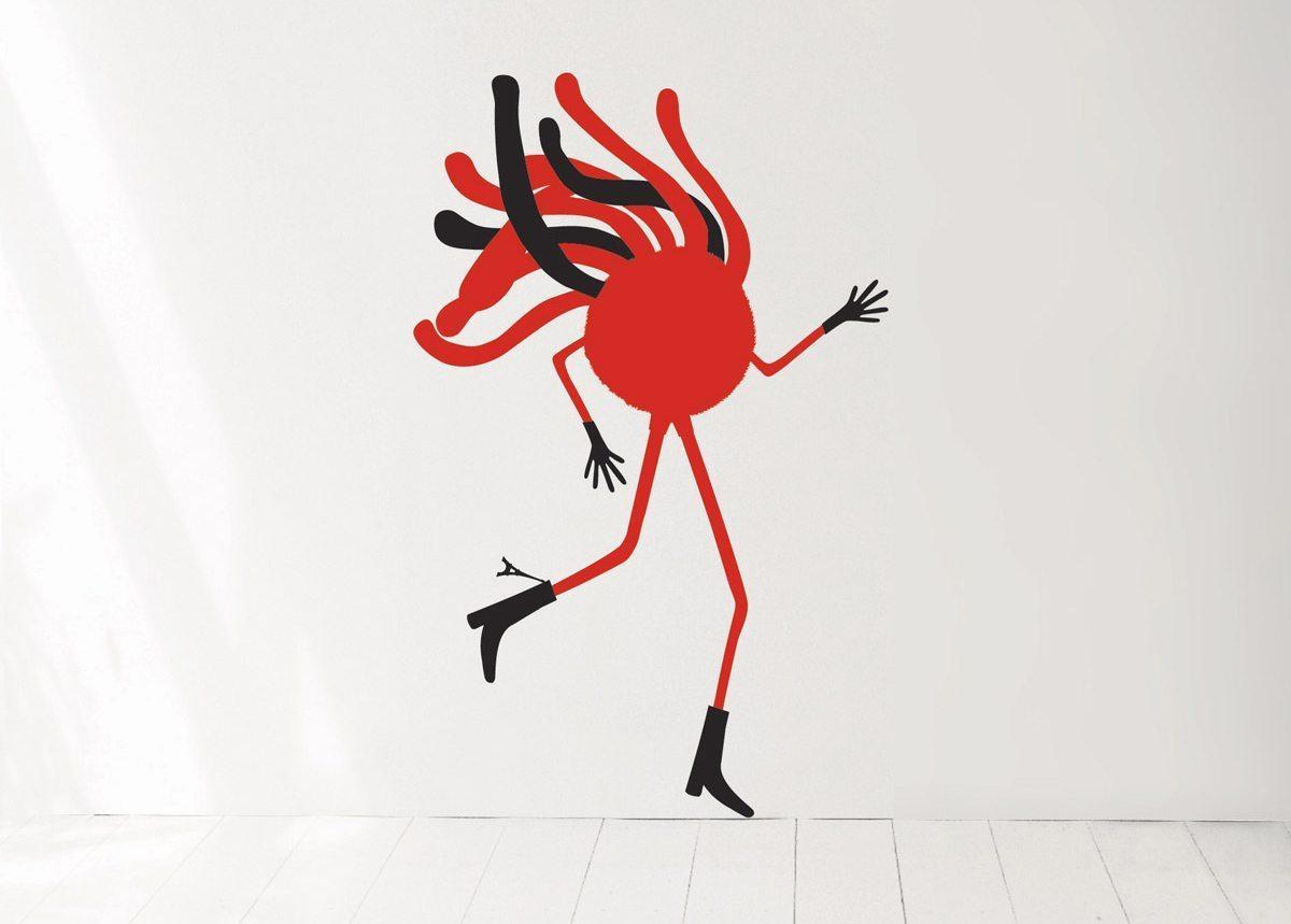 Wallsticker Mr Spaghetti, tour Eiffel à la botte et cheveux dans le vent, design IchetKar