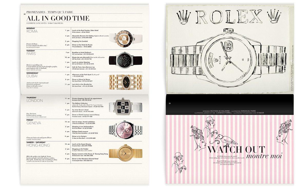 Illustration de Clemence Farell dans le magazine Iconofly, revue d'art autour d'un accessoire, la montre, design IchetKar