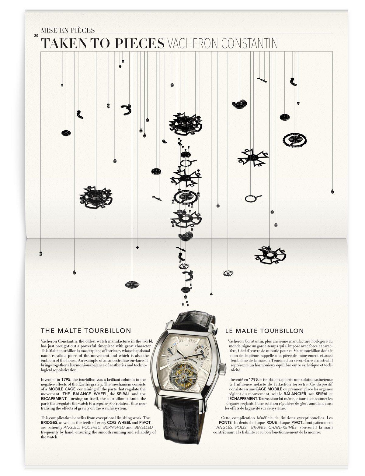 La page mise en pièce, la montre est mise en pièce de manière graphique, magazine Iconofly, revue d'art autour d'un accessoire unique, la montre, design IchetKar