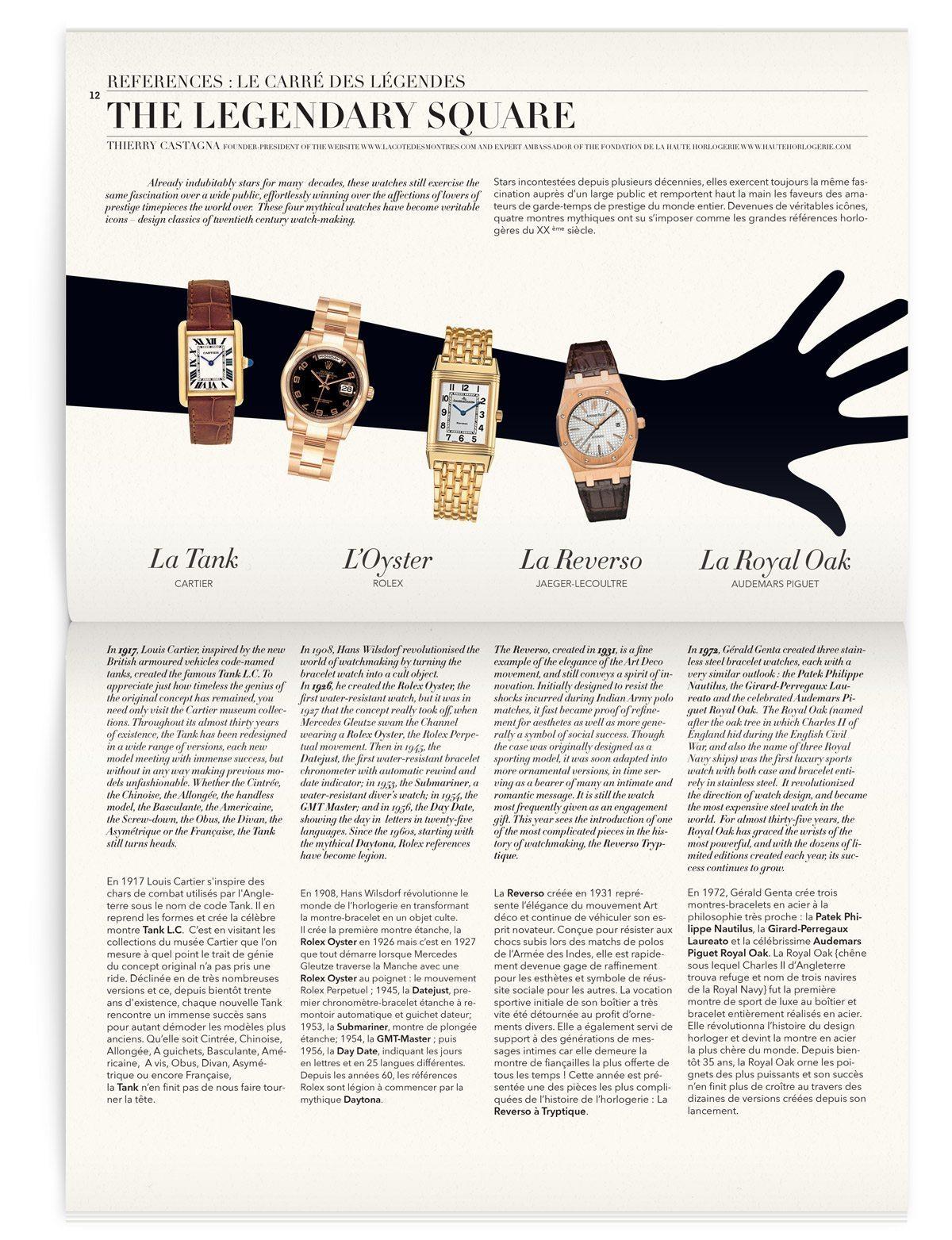 Le carré des légendes, montres de marque pour le magazine Iconofly, revue d'art, design IchetKar