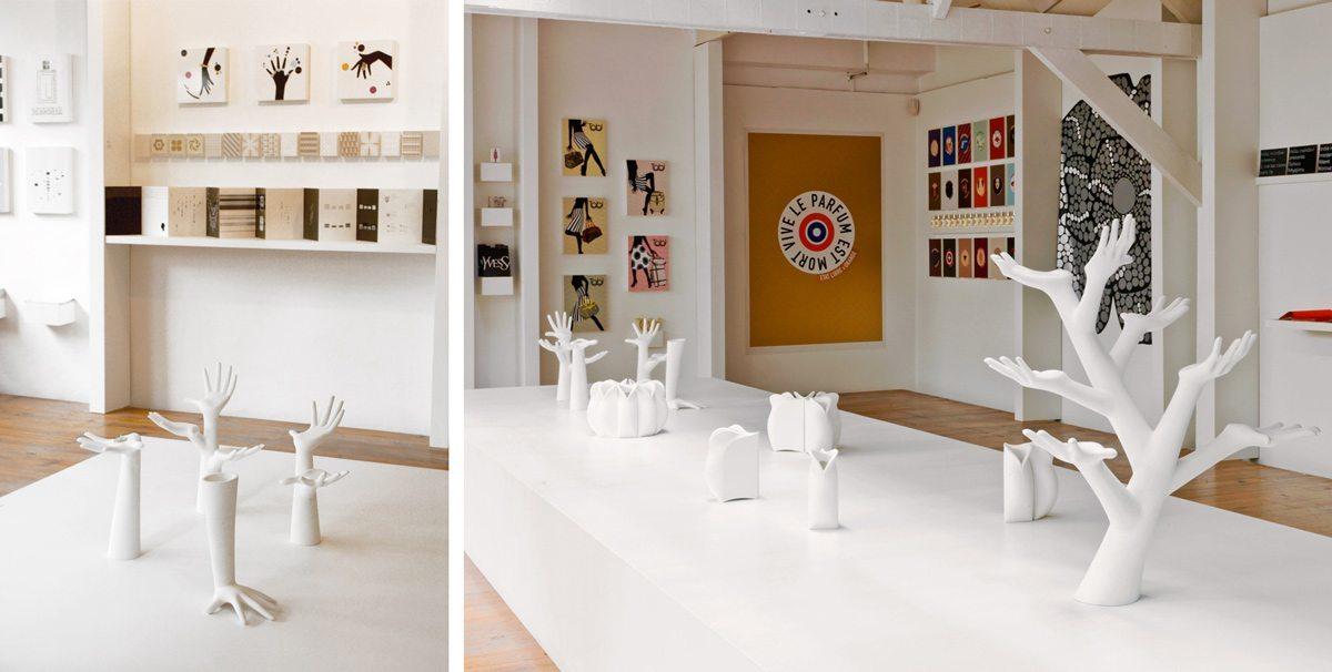 L'exposition IchetKar Curiosités à la galerie Anatome. Hands, état libre d'orange et Tabi sont au rendez-vous. Scénographie Clémence Farrell