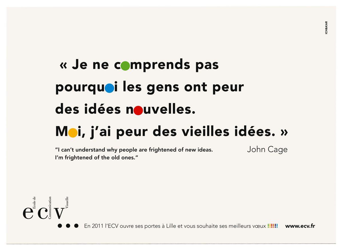 ecv Lille carte de vœux 20011 verso citation John Cage IchetKar