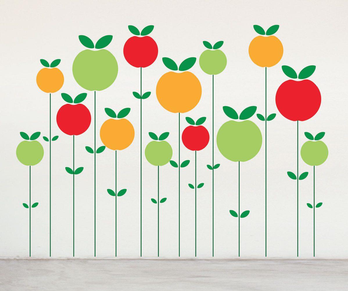 Wallstickers Domestic, pom pom pom, plein de pommes a coller, design IchetKar