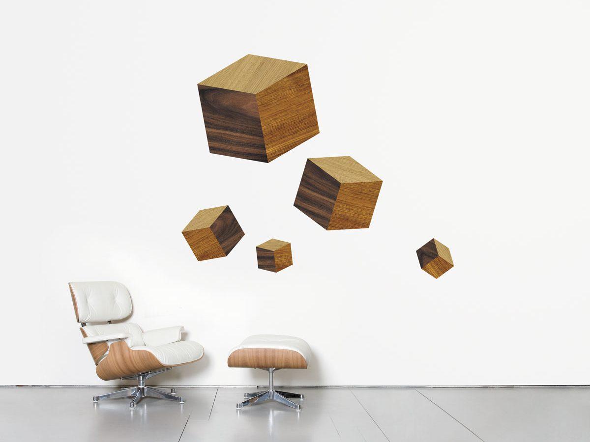 Wallstickers Domestic, touche du bois, cube graphique de texture pour porter chance, design IchetKar