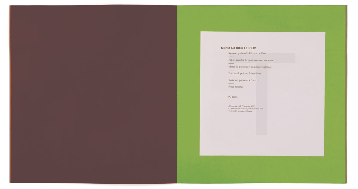 Les menus du restaurant étoilé Troisgros, menu imprimé sur papier filigrané T, design IchetKar, fabrication cent pages