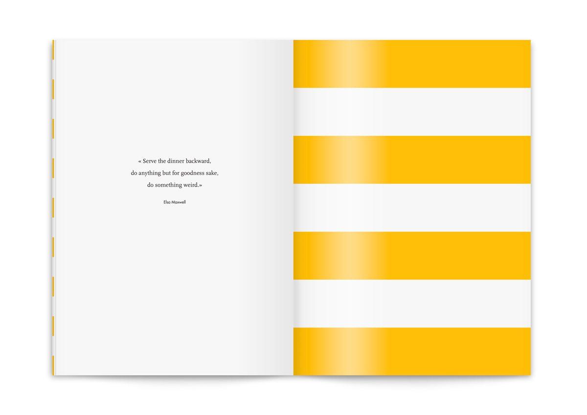 Le menu du Monte Carlo Beach, citation et rayures graphiques esprit bord de mer, design IchetKar