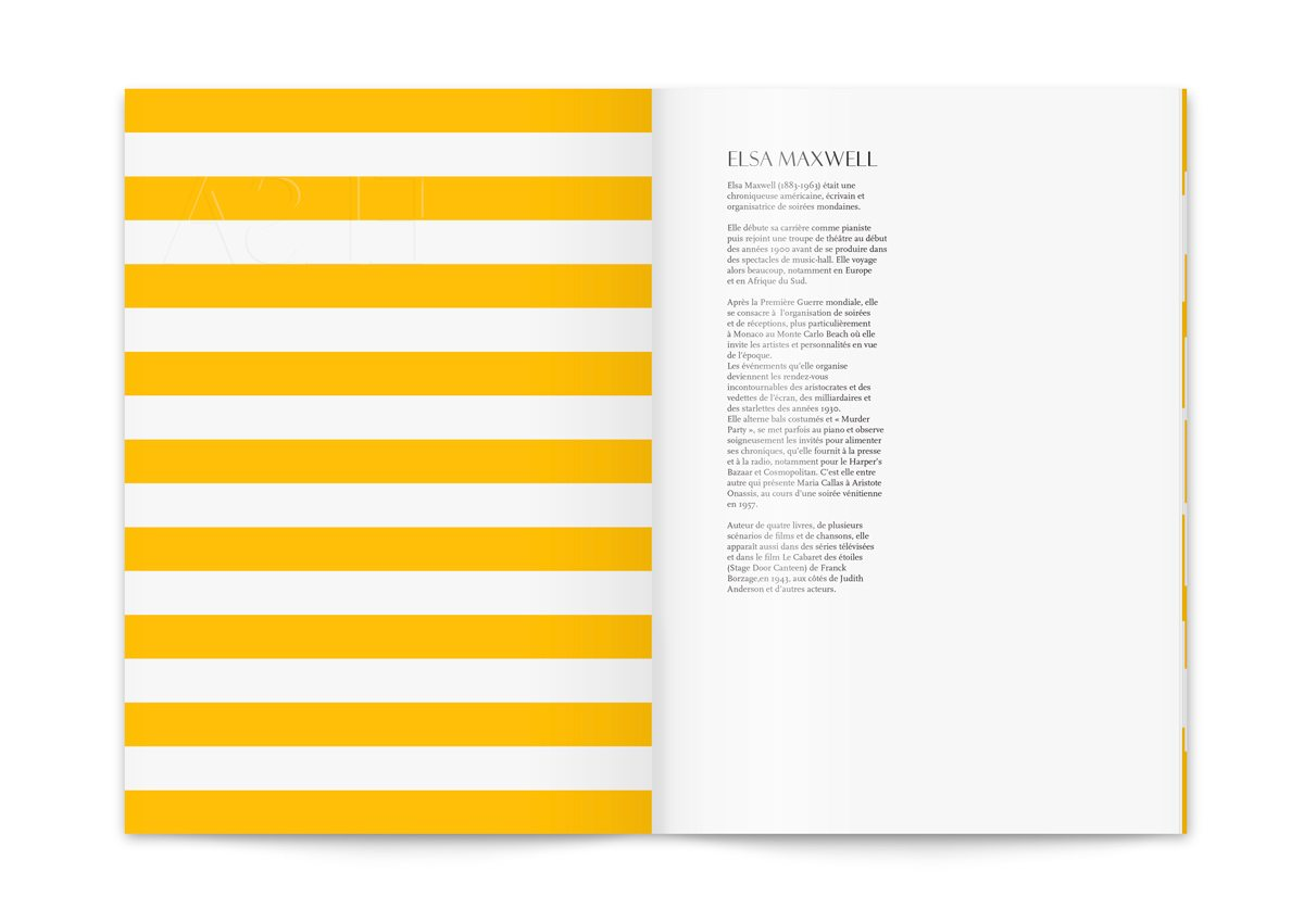 Le menu du Monte Carlo Beach, rayures graphiques esprit bord de mer, design IchetKar