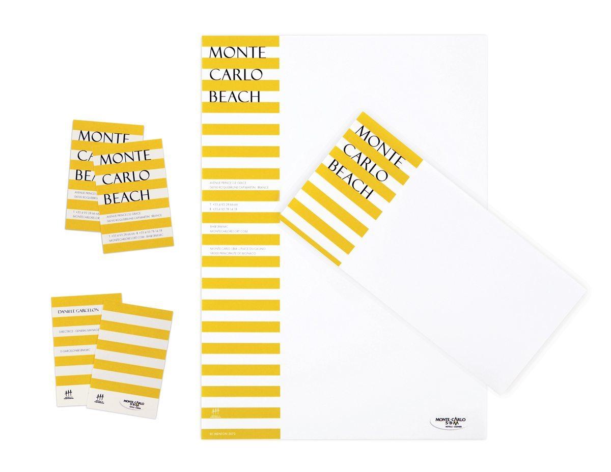 Papier à lettre, carte de visite et carte de correspondance pour l'hotel Monte Carlo Beach, rayures graphiques esprit bord de mer, design IchetKar