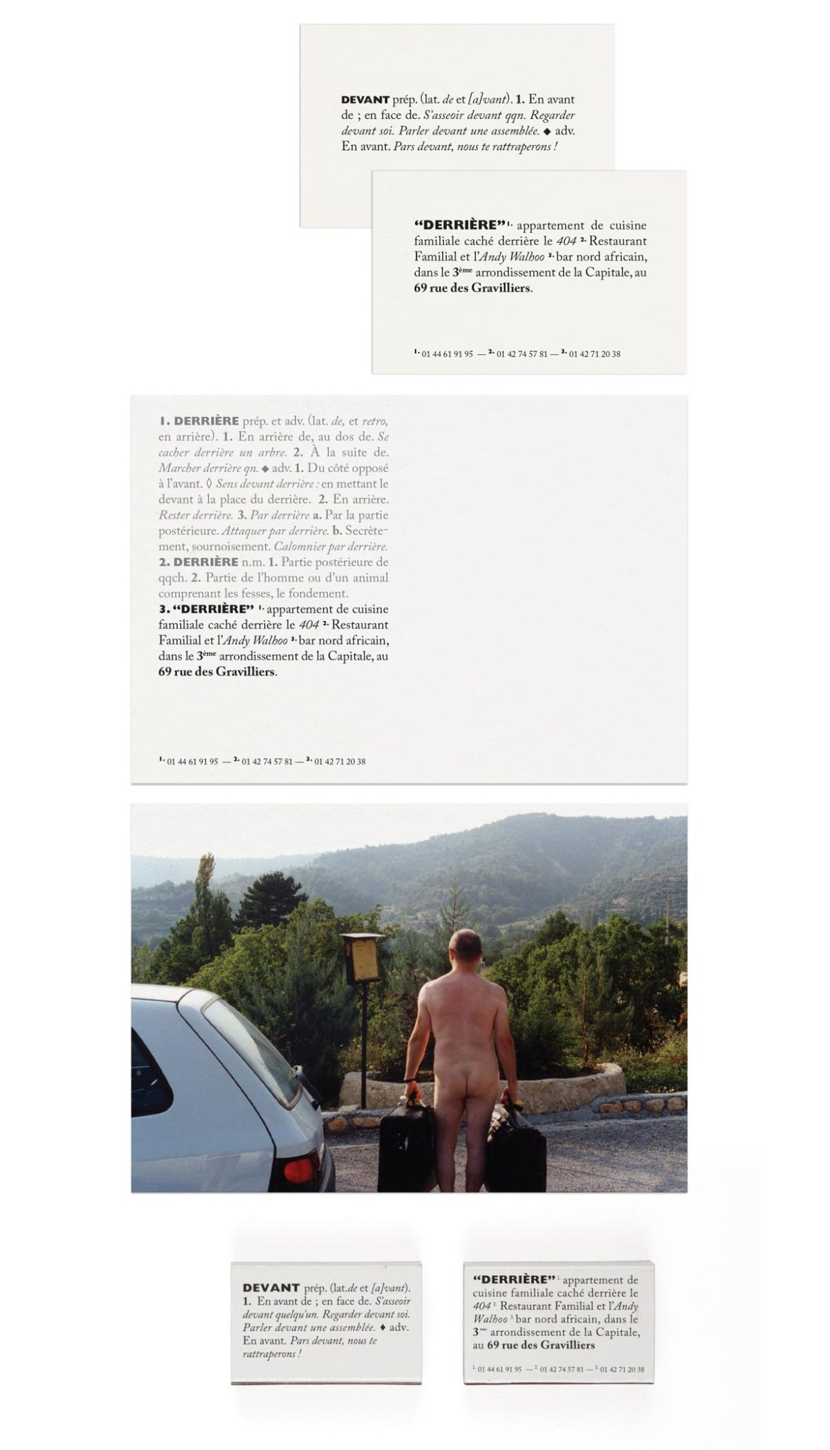 carte de visite, carte postale et allumettes du restaurant le derriere signé Ich&Kar