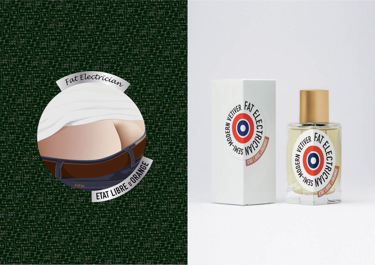 Le parfum fat electrician d'etat libre d'orange, illustration et design IchetKar