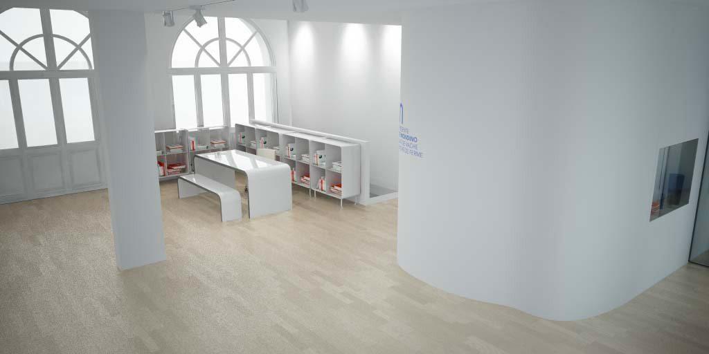 Le coin bibliothèque du projet de la galerie Milk Factory, scenographisme IchetKar et Clemence Farrell