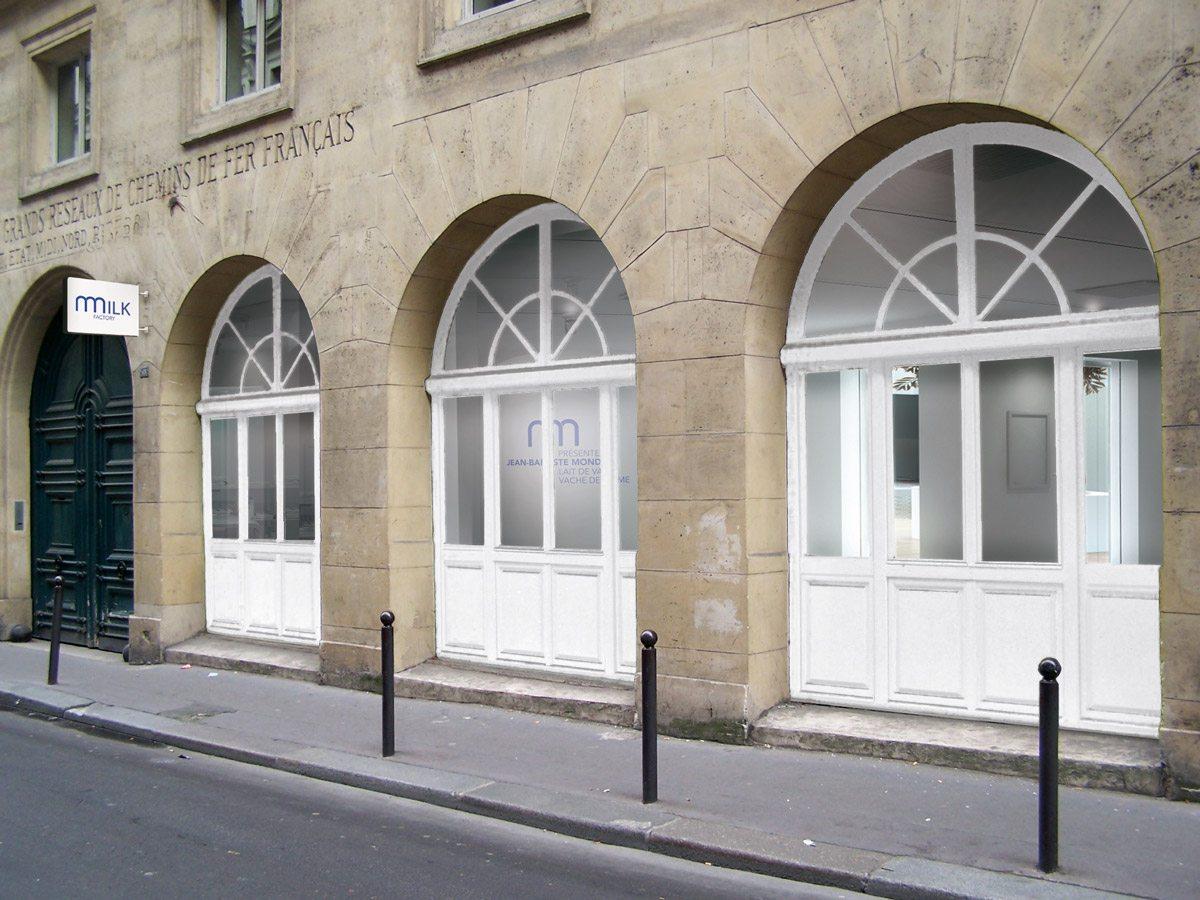 La facade du projet de la galerie Milk Factory, scenographisme IchetKar et Clemence Farrell