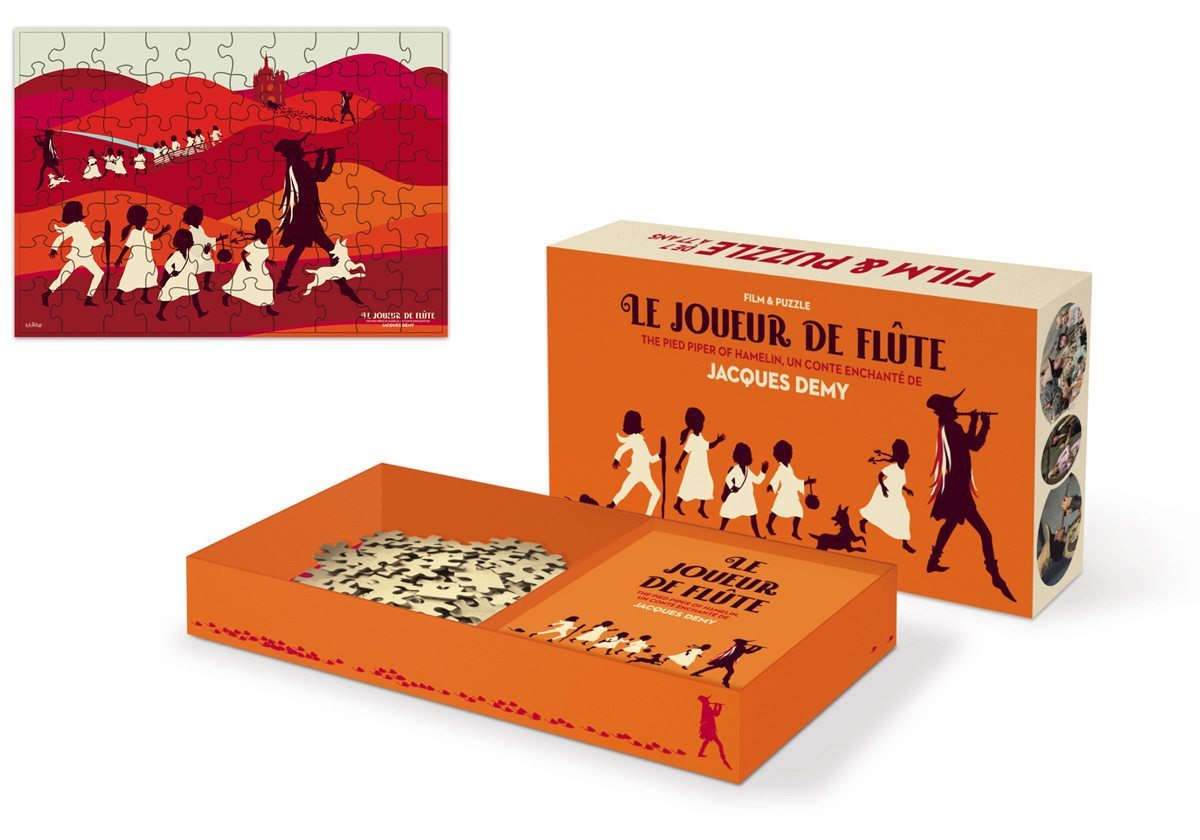 Le coffret DVD avec un puzzle Arte du joueur de flûte de Jacques Demy, illustration et design IchetKar