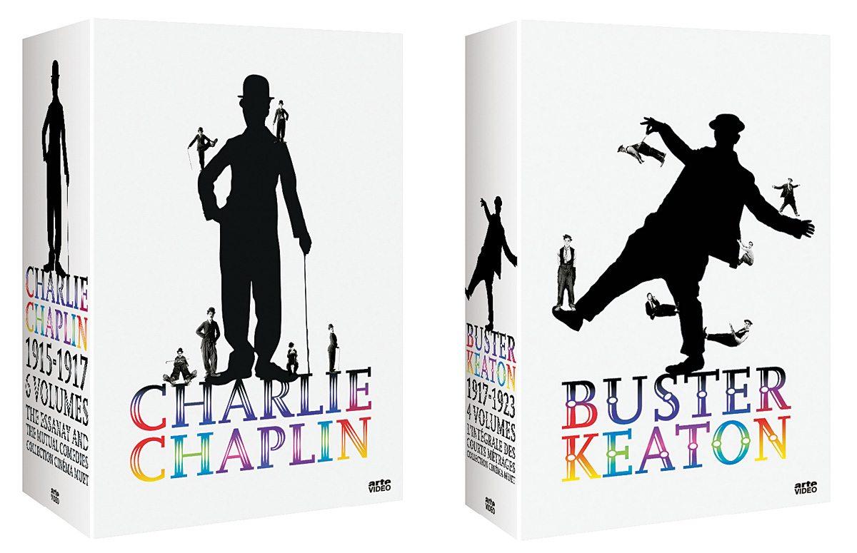 Les coffret d'Arte sur deux géant du muet, Charlie Chaplin et Buster Keaton, design IchetKar