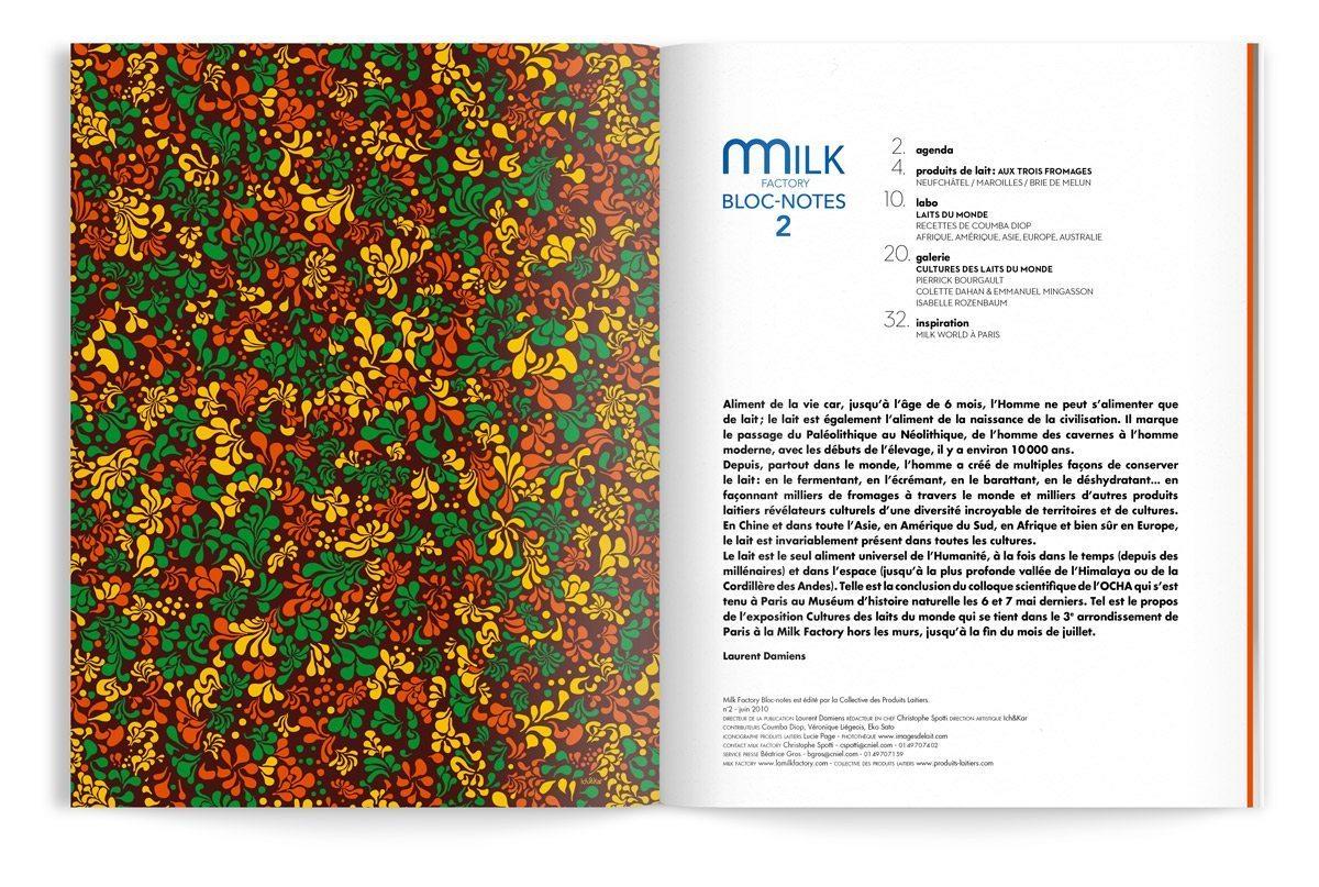 bloc-notes milk factory 2 lait par ichetkar editor page de garde motif floral