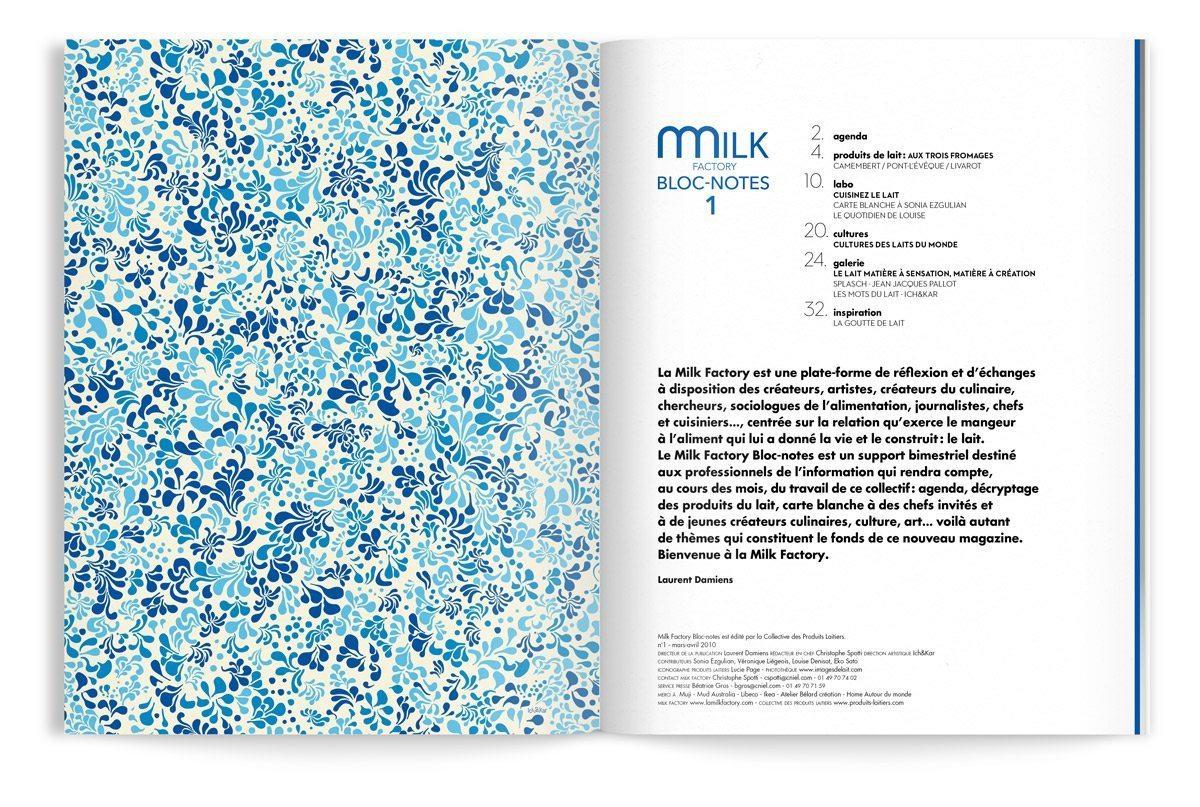 bloc-notes milk factory 1 lait par ichetkar editor page de garde motif floral