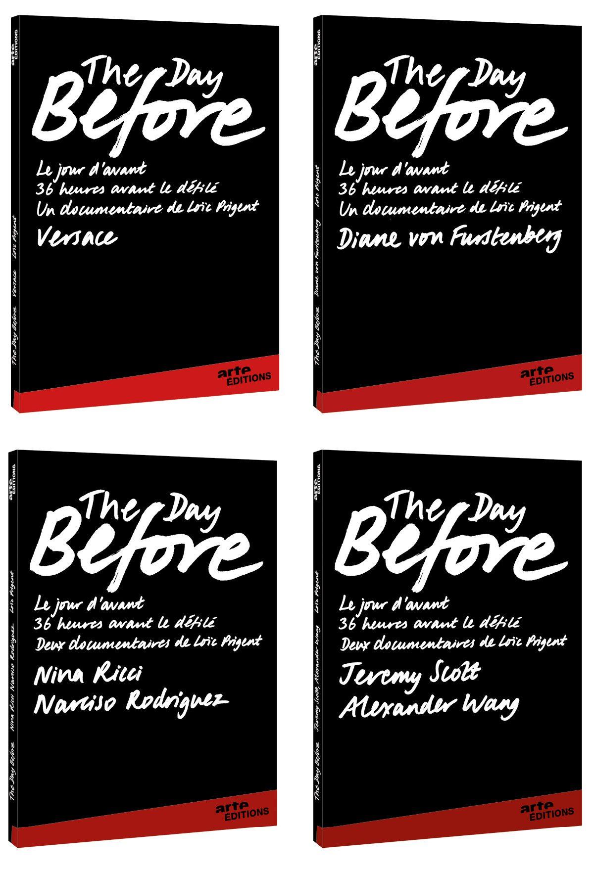 Les jaquettes des DVD Arte The day before 2, avec Versace, Diane von Furstenberg, Nina Ricci, Narciso Rodriguez, Jeremy Scott et Alexander Wang, design et typographie IchetKar