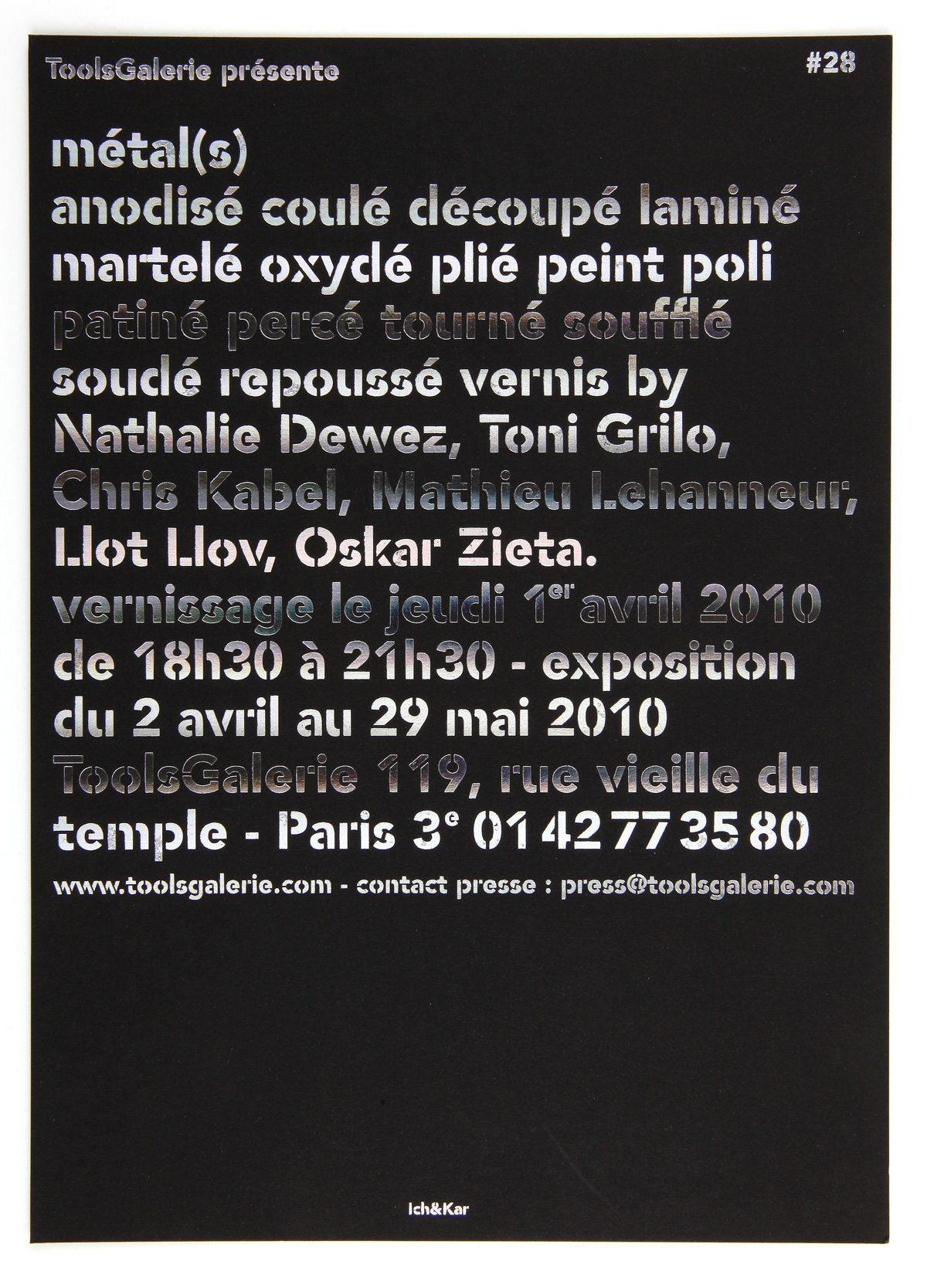 Carton d'invitation de l'exposition Métal(s) sous tout ses formes à la ToolsGalerie, Dorure argenté façon métallisé, design Ichetkar