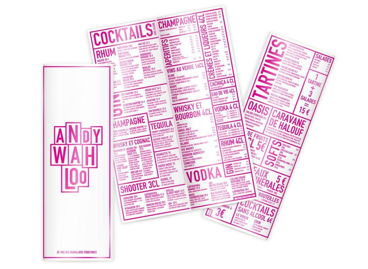 andy wahloo menus rose pop art rebeu
