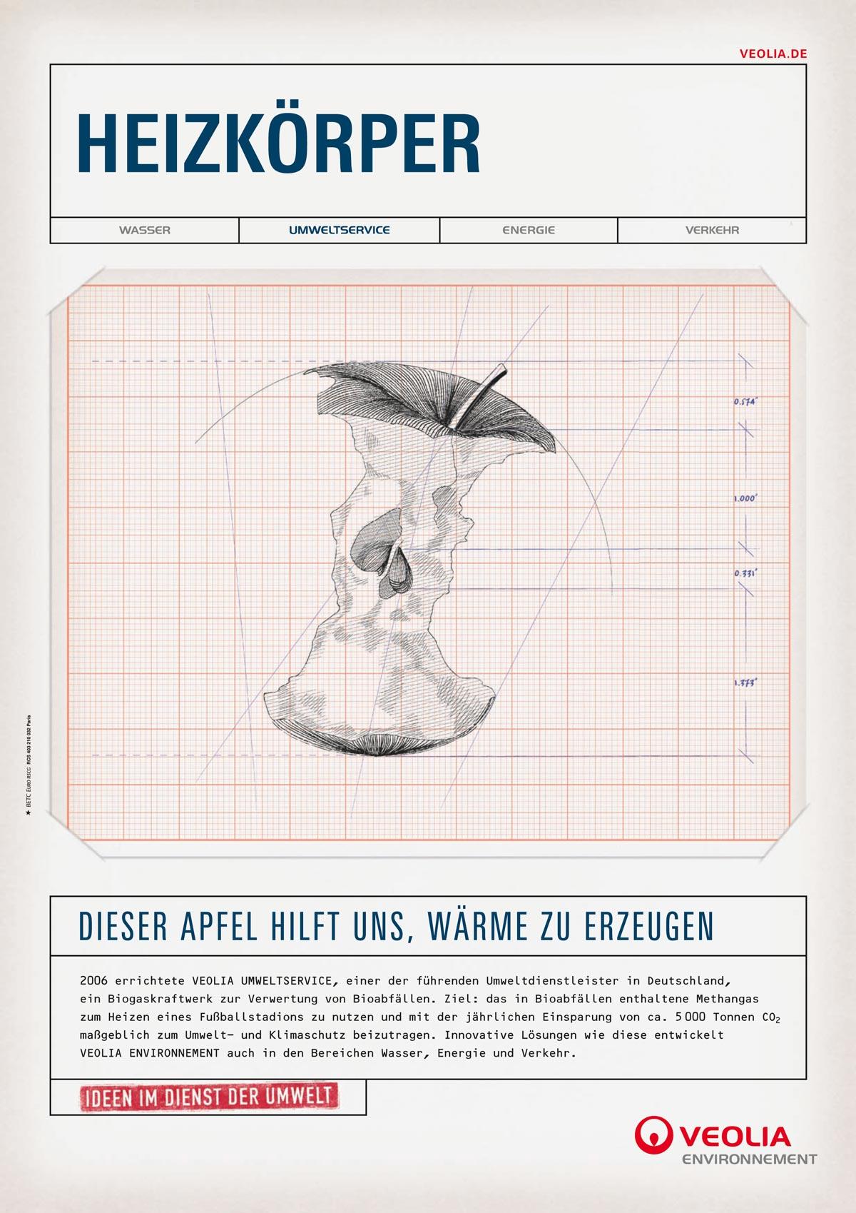 veolia propreté, campagne publicitaire betc ich&kar - radiateur, pour veolia cette pomme peut aider a créer de la chaleur