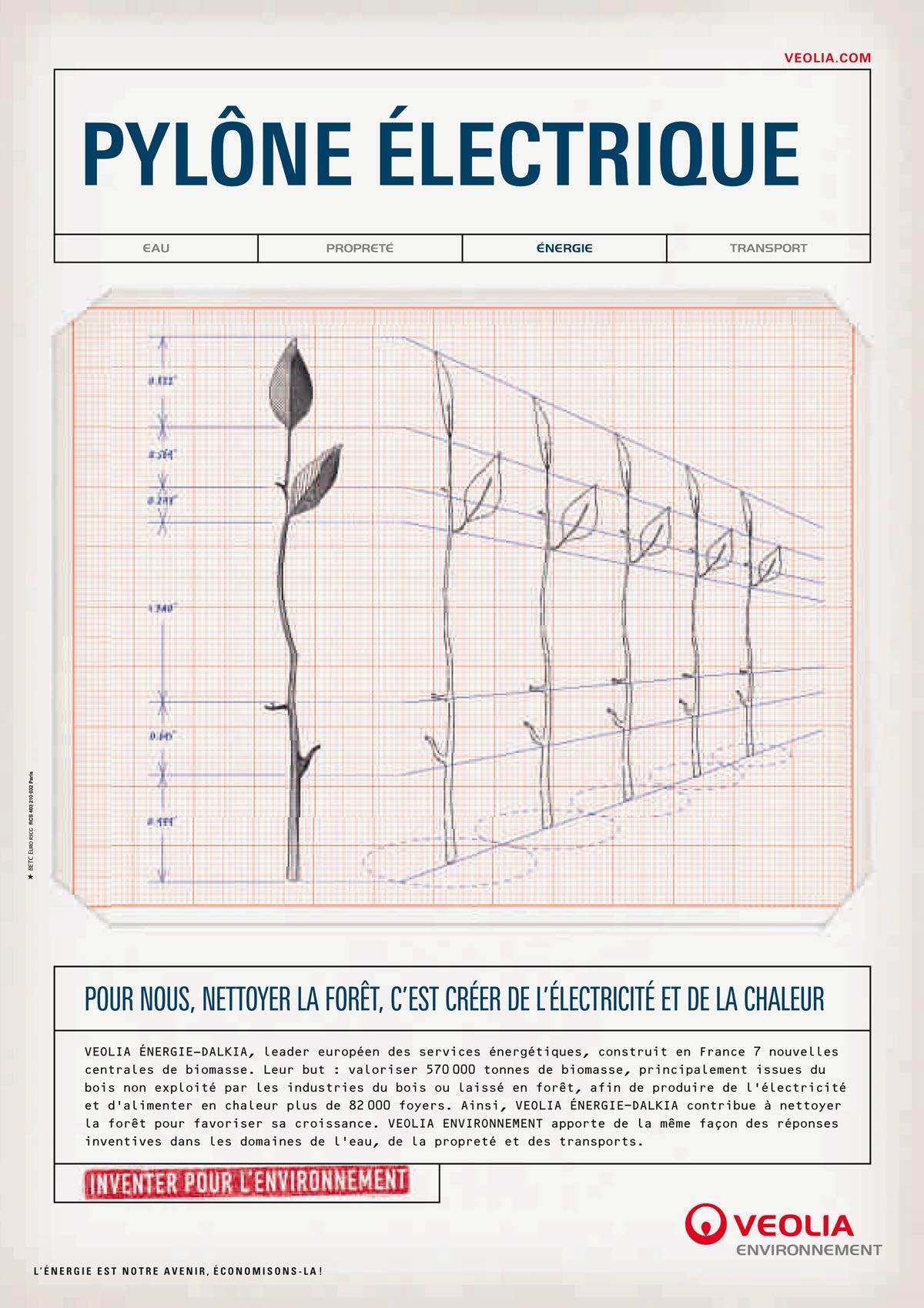 campagne veolia betc ich&kar- Pylône électrique. pour veolia nettoyer la foret c'est créer de l'électricité et la chaleur