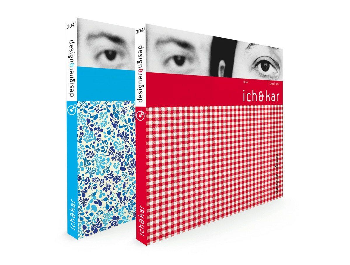 Les couverture de design&designer sur Ich&Kar, bleu pour le design et rouge pour le graphisme, édition Pyramyd