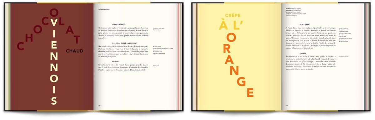 Le livre Infiniment de Pierre Hermé, un classique, la crêpe a l'orange, design IchetKar