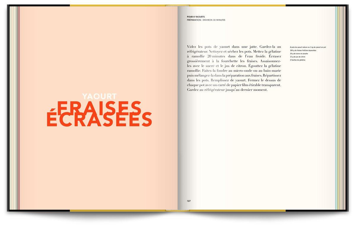 Le livre Infiniment de Pierre Hermé, typographie expressive en rapport avec les recettes et couleurs acidulées, design IchetKar