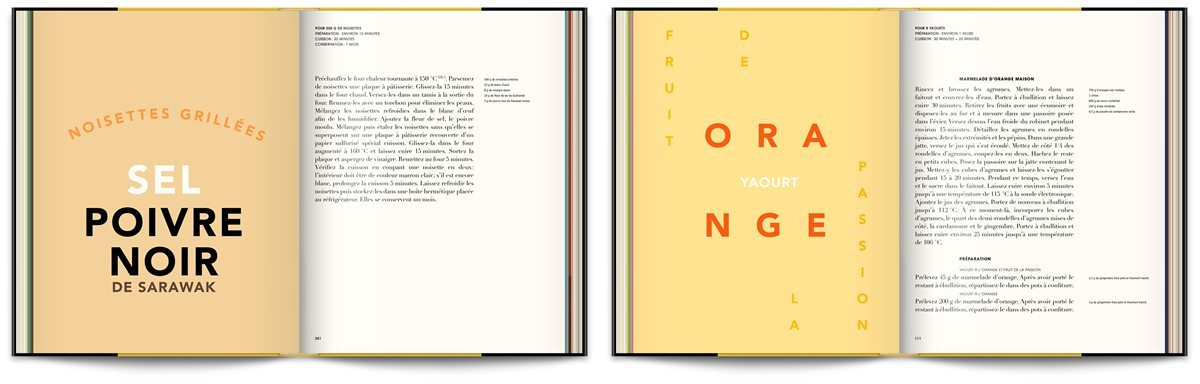 Le livre Infiniment de Pierre Hermé, typographie expressive en rapport avec les recettes, design IchetKar