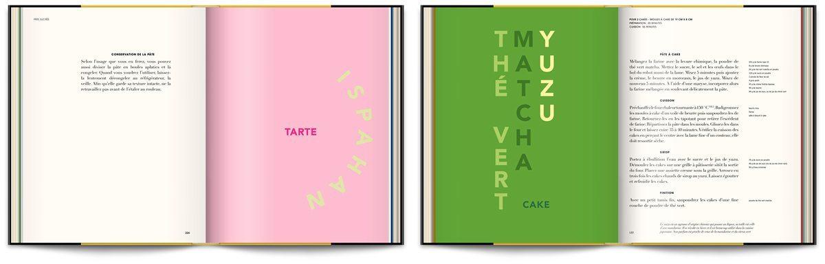 Le livre Infiniment de Pierre Hermé, typographie expressive et couleurs acidulées thé vert, matcha et yuzu, design IchetKar