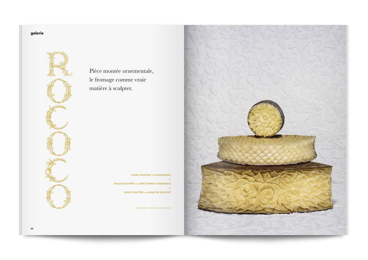 bloc note 4 pièces montées de fromages sculptés en motifs floraux photo jean jacques pallot direction artistique ichetkar rococo