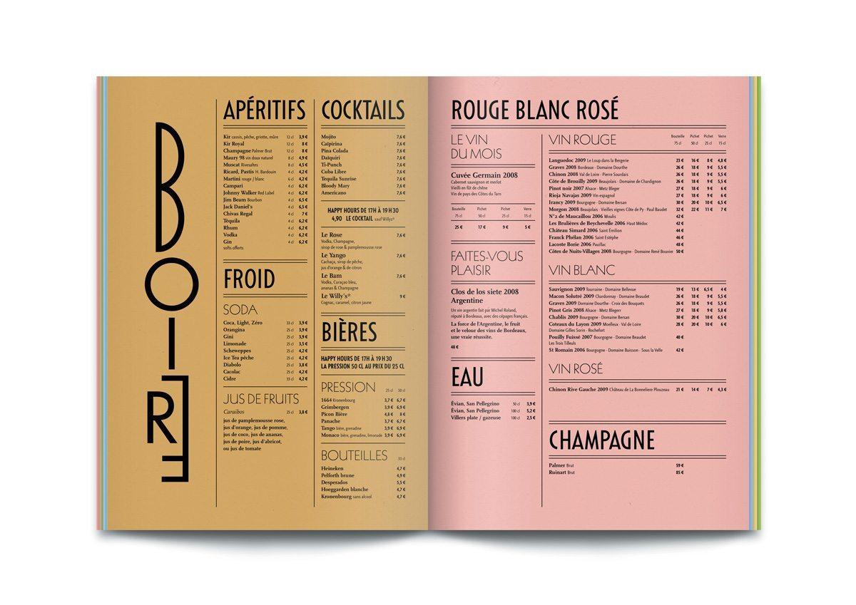 bistrot cartes menus art déco 1930