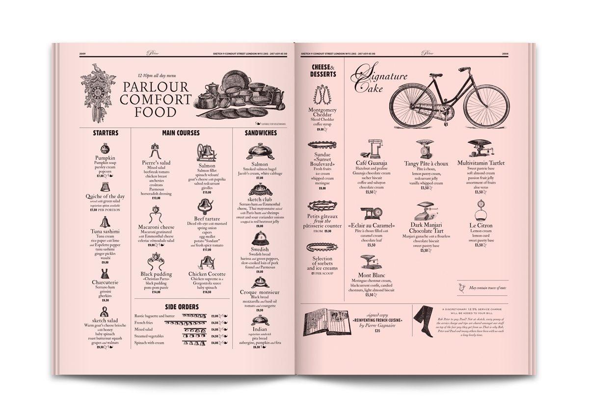 sketch menu parlour rose ichetkar surrealiste