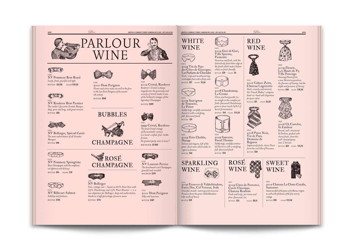 sketch menu parlour wine ichetkar surrealiste