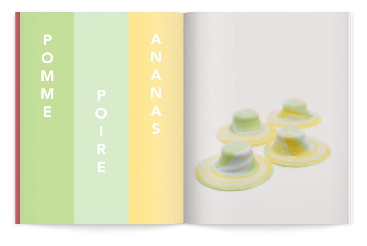 bloc-notes 6 yaourt composition cinétique colorée photo fred lebain recettes brigitte amour pomme poire ananas