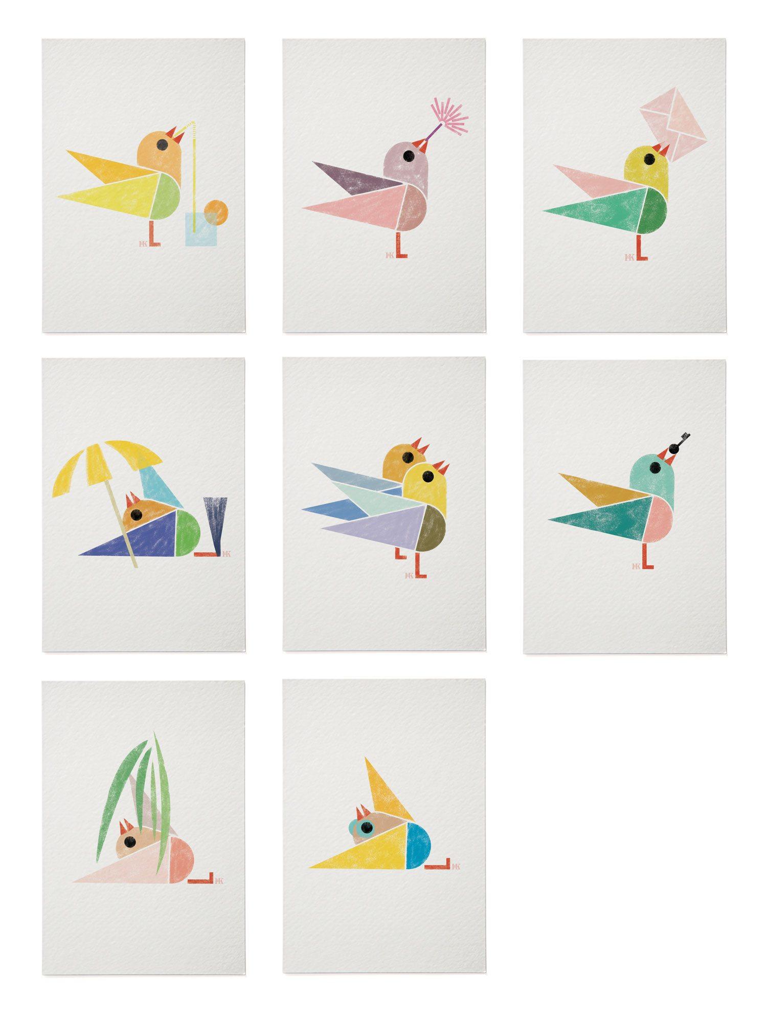 Cartes postales Birdy, des cartes avec des oiseaux, a envoyer a des amis, design et illustration IchetKar