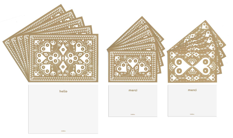 Séries de différentes cartes compliments à envoyer. De couleur bronze, aux motifs de coeurs carreau, trèfle et pique, ces cartes ressemblent à des cartes à jouer. Cartes avec inscriptions: Hello sur les unes, Merci sur les autres.