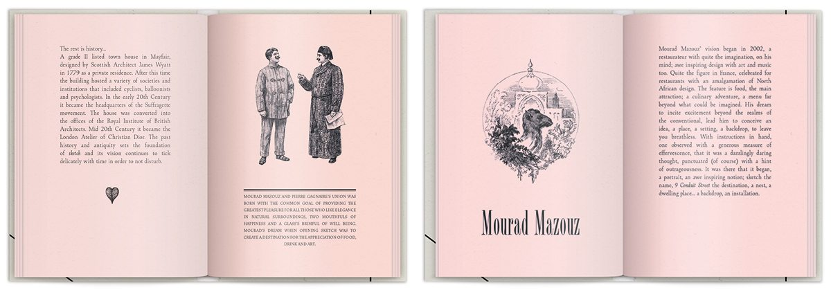 Rose book La brochure du Sketch London, gravure représentant le propriétaire du lieu Mourad Mazouz et le Chef étoilé Pierre Gagnaire, design IchetKar