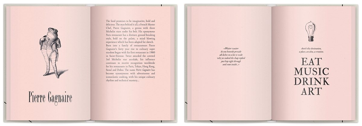 Rose book La brochure du Sketch London , Pierre Gagnaire en grenouille,, humour by IchetKar