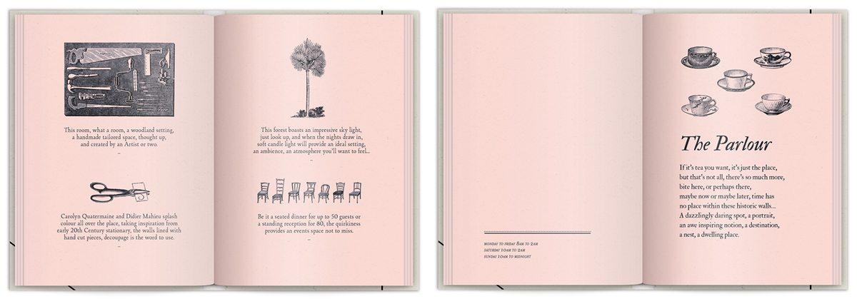 Rose book La brochure du Sketch London, les lieux imagé par IchetKar, rose poudré, sur-couverture poster et gravure, design IchetKar, fabrication Cent Pages