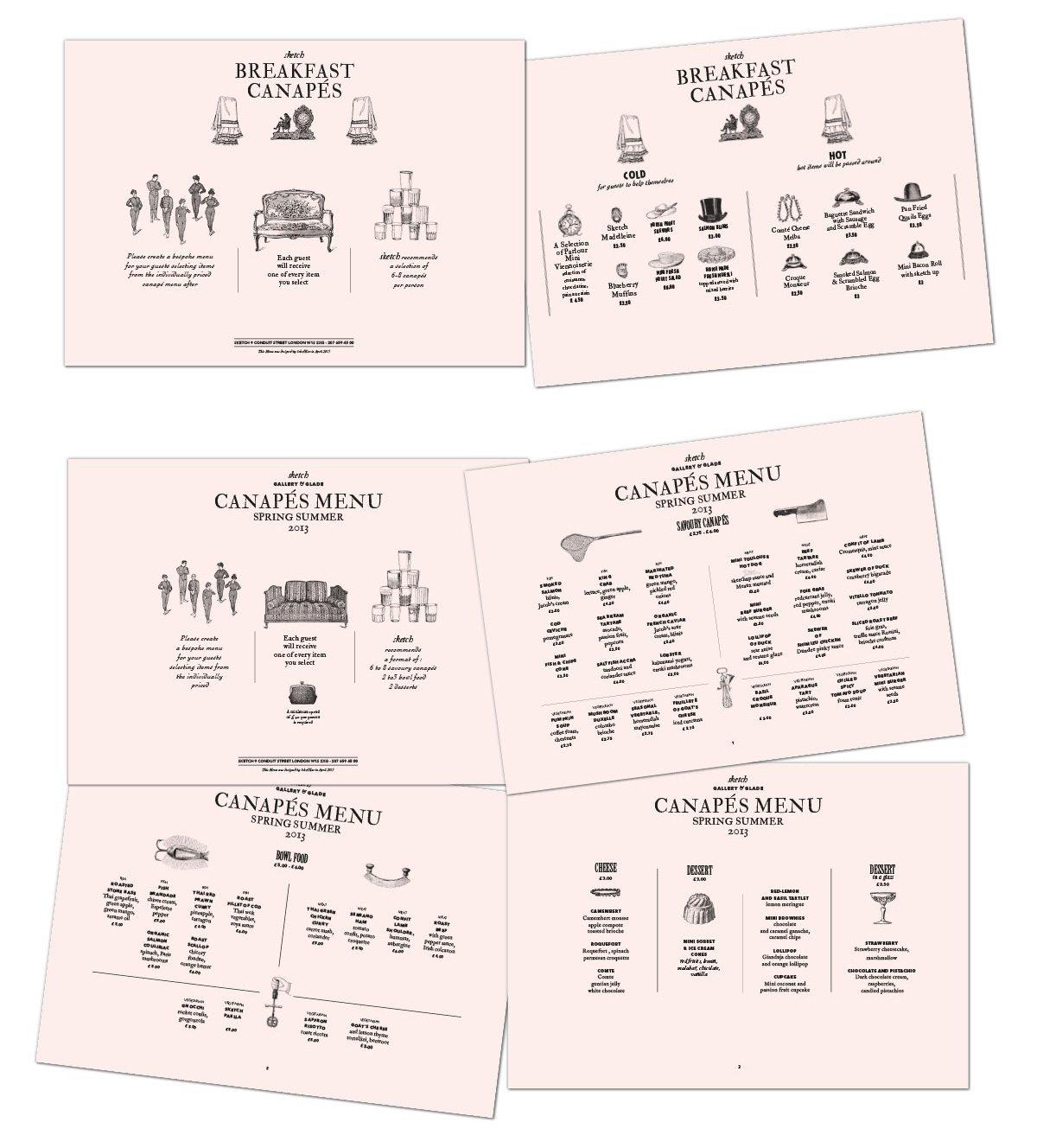 identité visuelle sketch event canapés menu ichetkar