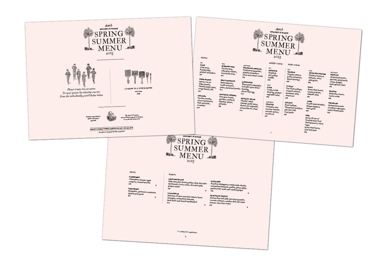 identité visuelle sketch londres event spring menu ichetkar