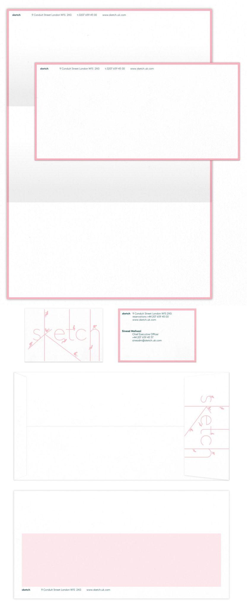papier à lettre carte de correspondance carte de visite enveloppe Sketch Londres, rose poudré et blanc, design IchetKar