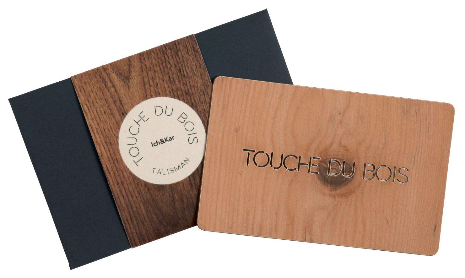 Talisman touche du bois knock on wood, petite carte porte bonheur à glisser dans nos sacs ou portefeuilles. Une création Ich et Kar.