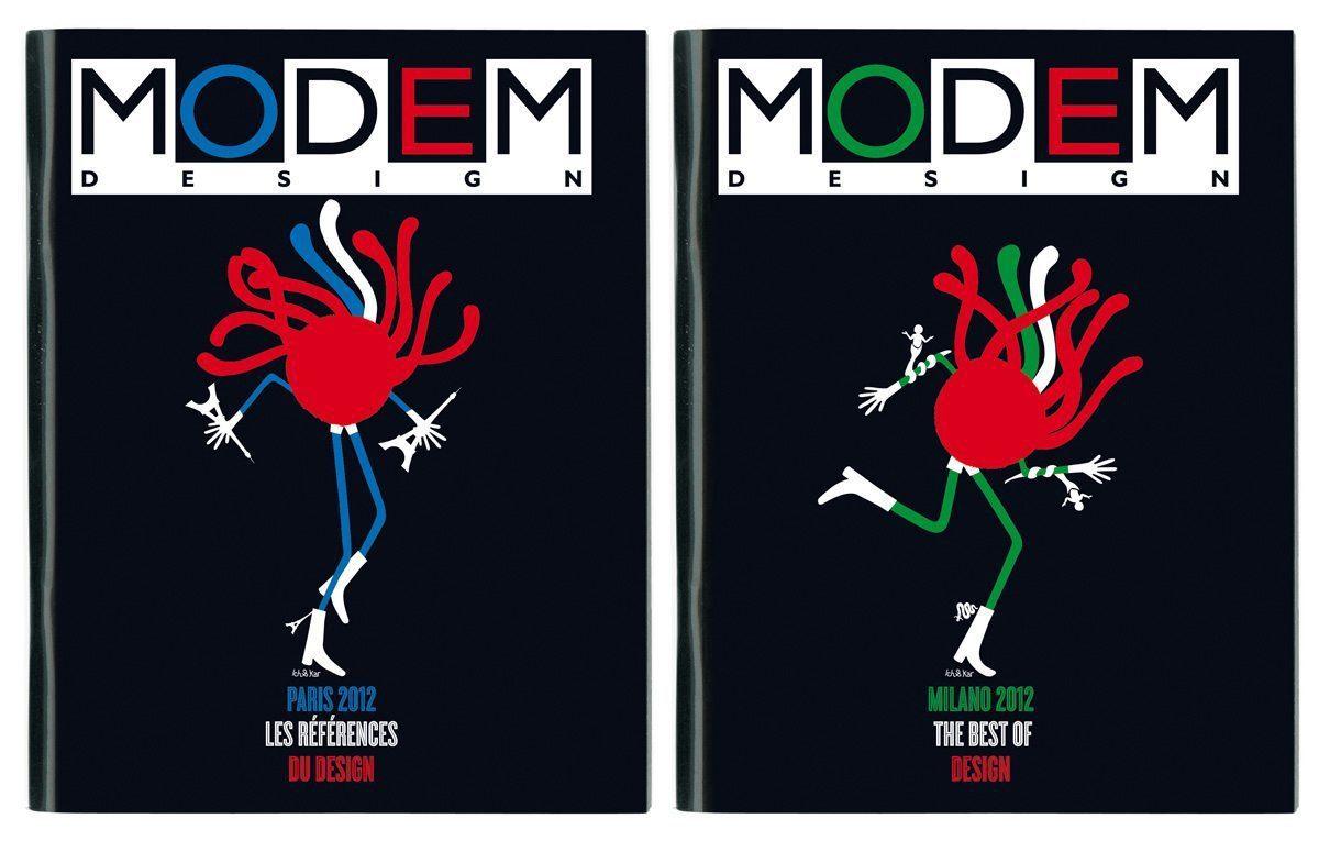 L'iconique personnage Mister Spaghetti, dessiné paar Ich&Kar, en couverture du Modem Design Paris et Modem Design Milan